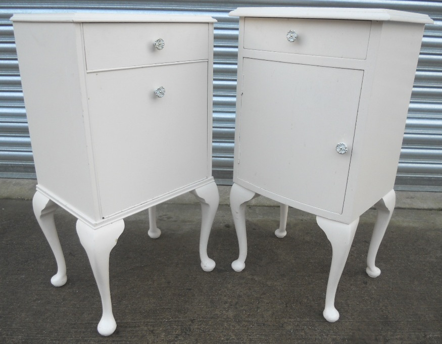 Pair Louis Style White Bedside Cabinets